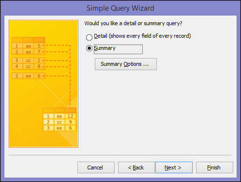 Select Detail or Summary on the Simple Query Wizard dialog