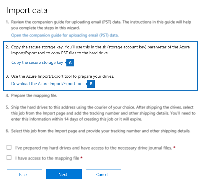 Copy the secure storage key and download the Azure Import Export tool on the Import data page
