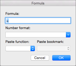 Add and modify formulas in the Formula dialog box.
