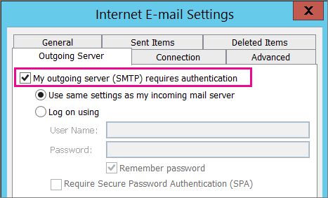 Choose My outgoing server requires authentication.