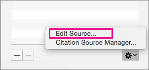 Citations pane with Edit Source highlighted.
