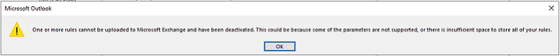 Rules cannot be uploaded error dialog