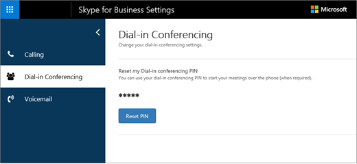 Dial-in Conferencing settings page