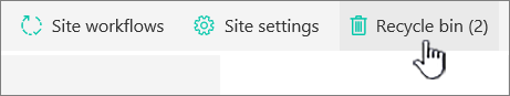 SharePoint Online Site Contents page Recycle button