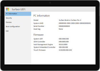 Newer version of Surface UEFI screen.