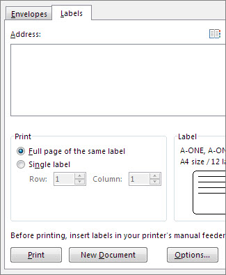 create and print labels word