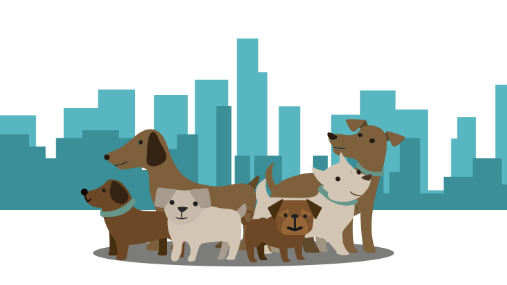 illustration of dogs in front of a city skyline