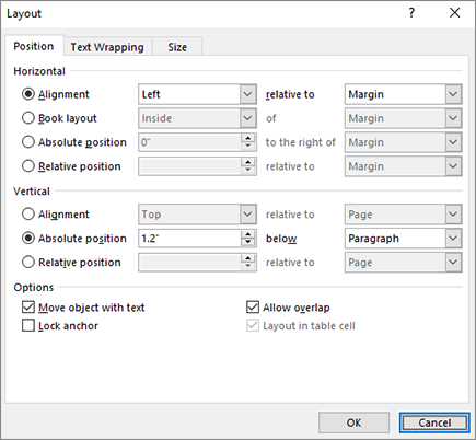 Layout options position tab