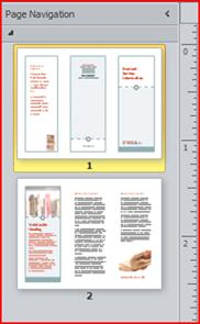 Two page tri-fold brochure shown in the navigation pane of Publisher 2010