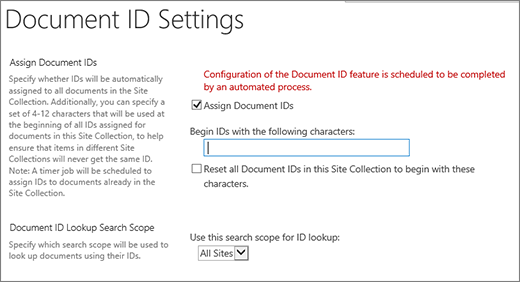 Assign document IDs in the the Document ID Settings page