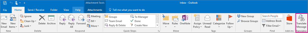 Outlook 2016 ribbon with Translate Message button highlighted