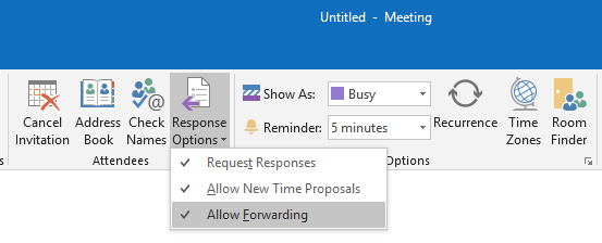 Allow Forwarding option in Outlook