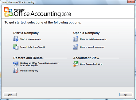 Set up a new company in Office Accounting