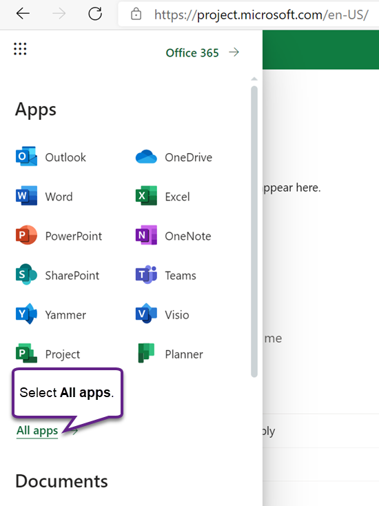 The menu of Office Apps