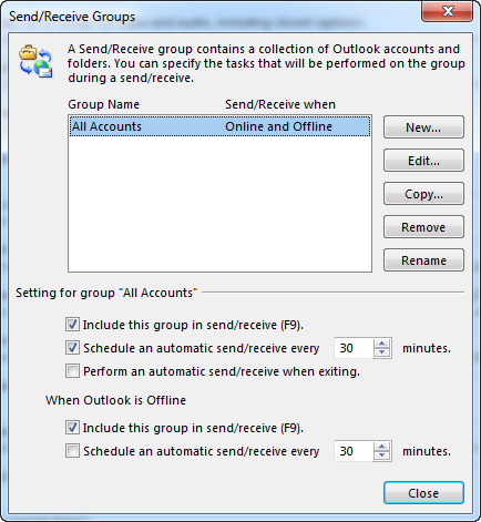 The Send/Receive Settings dialog box
