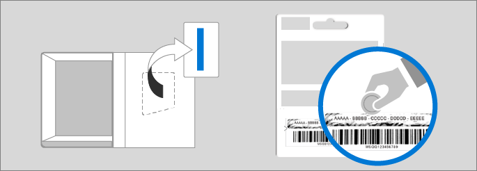 Shows the location of the product key in the product box and on the product key card.