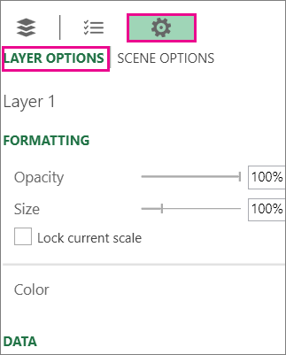 Settings icon on the Layer Options tab