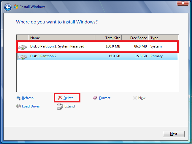 Select Disk 0 partition 1, and click Delete.