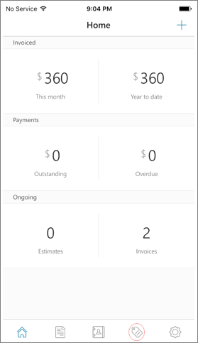 Screenshot of the Invoices app homepage with the third item on the bottom nav selected