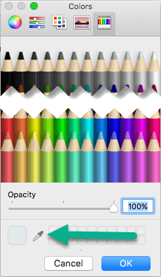 The Colors dialog box includes an Eyedropper tool.