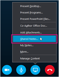 Present button, Shared Notes option