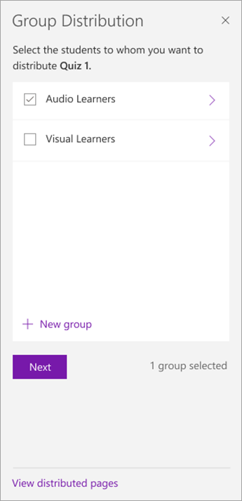 Select the checkbox next to the group