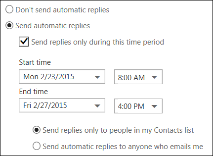 Outlook on the web automatic replies Set time