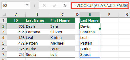 Use =VLOOKUP(A2:A7,A:C,2,FALSE) to return a dynamic array that won't result in a #SPILL! error.