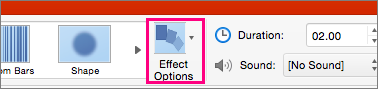 Shows the Effect Options button on the Transition menu in PowerPoing 2016 for Mac