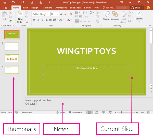 Shows the Normal View in PowerPoint