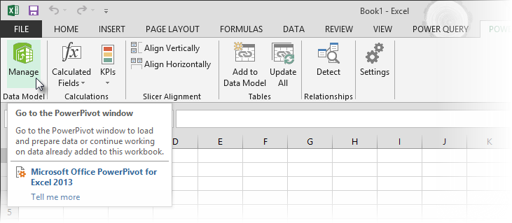 Power Pivot Manage button