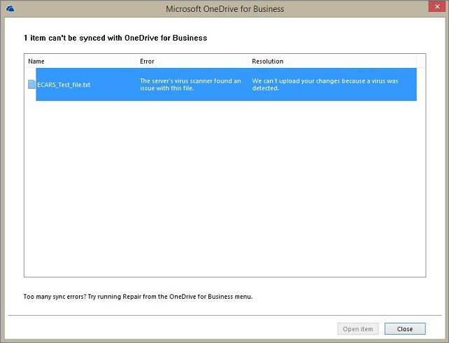 Screenshot of a dialog box that shows 1 item can't be synced with OneDrive for Business because the server's virus scanner found an issue with the file.