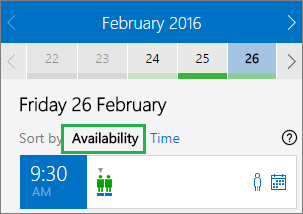 Meeting options sorted by availability
