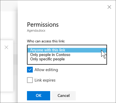 Screenshot of the Permissions pane for a file in OneDrive for Business