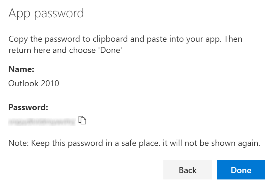 App password page, with name of app