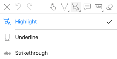OneDrive for iOS PDF Markup Highlight Menu