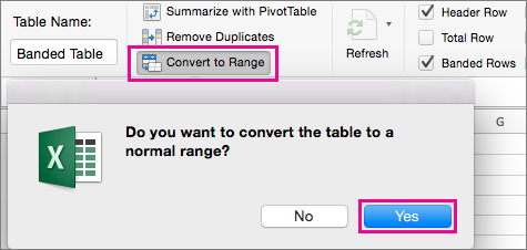 On the Table tab, select Convert to Range