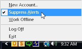 Suppress Alerts option is enabled