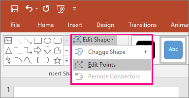 Shows the Edit Points option in the Edit shape menu in the Drawing Tools tab in PowerPoint.
