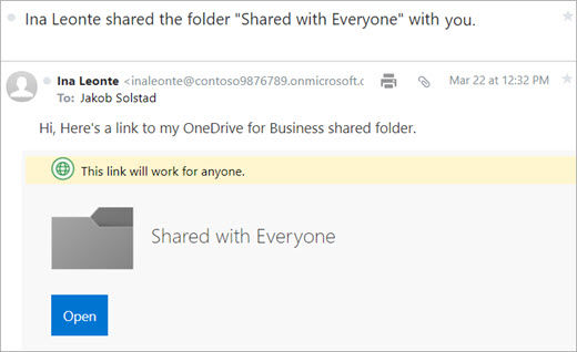 Office 365 send link email