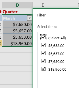 Custom number filter option
