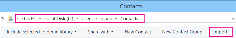 Navigate to the Contacts folder, then choose Import.