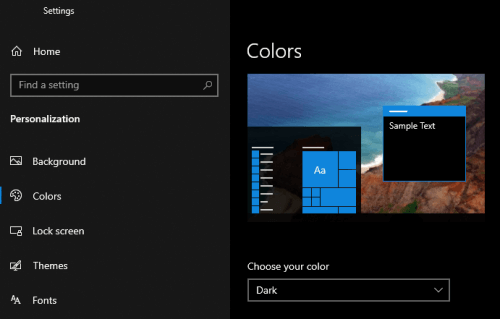 The Windows dark mode selected in the personalization settings of a PC.