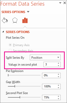 Split Series By box on the Format Data Series pane