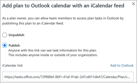 Screenshot of the Add plan to Outlook calendar dialog box