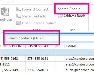 find people and contacts outlook