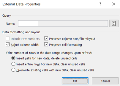 Example of the External Range Properties dialog box