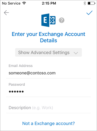 Shows the sign-in page for Exchange accounts