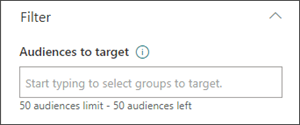 Image of the edit pane with the text box in which to set target audiences