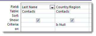 Images shows ctriteria field in query designer with is null criteria